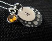 Sterling Silver Polka Dot Initial Charm Handstamped Necklace