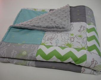 Elephants You Are My Sunshine in Green With  Bits of Sunshine in Aqua and Grey Minky Baby Blanket  MADE TO ORDER No Batting
