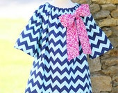 Navy Chevron Peasant - See listing for available size info