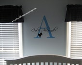 Large Initial, Name and small design Vinyl Wall Decal Boy or Girl