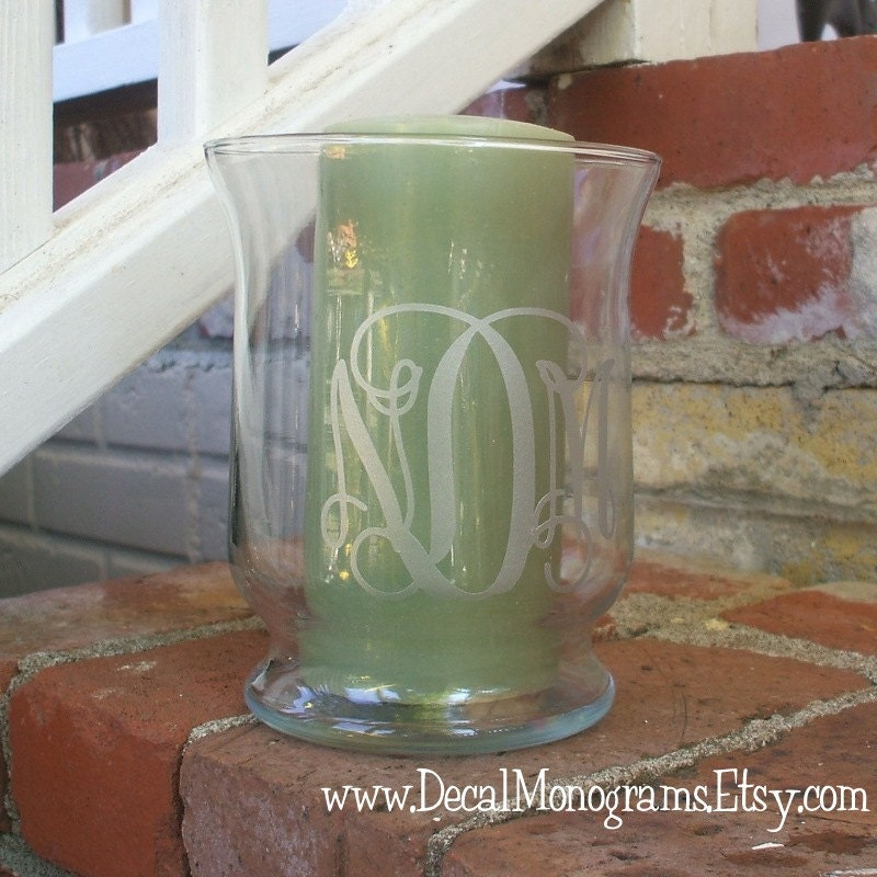 Etched glass monogrammed vinyl decal for Etched glass vinyl lettering