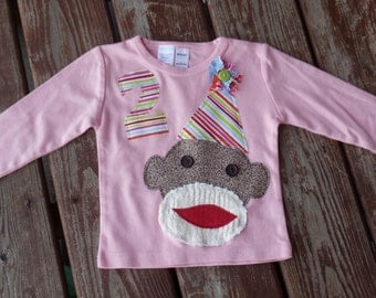 Any Number / assorted colors / SHORT  or LONG sleeve -- Girls Custom Sock Monkey Birthday   T-shirt  SIZES 6-12-18-24 month  2-3-4-5-6-7-8