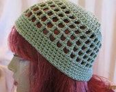 Green skullcap kufi hat beanie womans hat