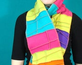 Bright Colored Patchwork Scarf,  Recycled Fleece, Pink, Blue, Orange, Lime Green