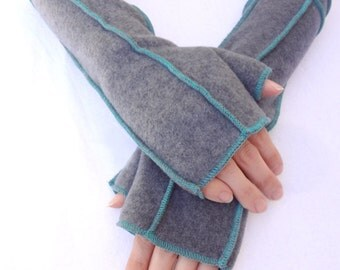 Gray Recycled Fleece Fingerless Gloves, Extra Long , Teal thread details, size LARGE