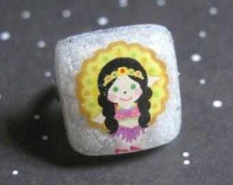 Carnival Brazil Girl Resin Ring