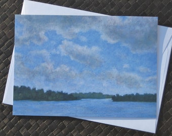 River scene note card with envelope