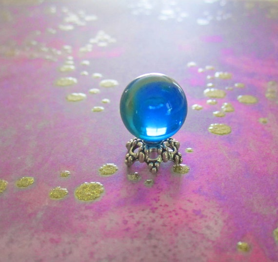 Miniature Crystal Ball with Green Swirls Believed To Be Once Owned by Poseidon Artist Made Miniature Dollhouse Scale