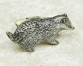 Badger Ring. Antiqued Pewter Silver Plated Ring