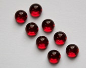 Vintage Ruby Red Glass Silver Foiled Cabochons 6mm cab700P