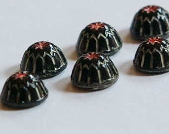Vintage Black with White and Red Glass Mosaic Cabochons 7mm cab067A