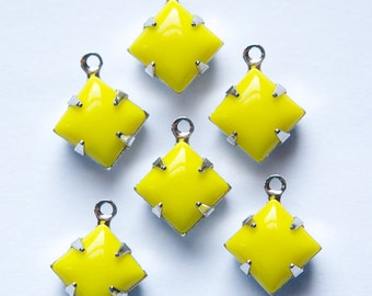 Opaque Yellow Square Glass Stones 1 Loop Silver Plated Setting 8mm squ008CC