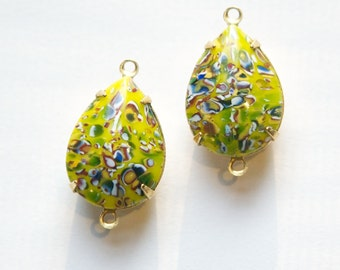 Vintage Yellow Millefiori Glass Teardrop Stones 2 Loop Brass Setting 18mm x 13mm par004SS2