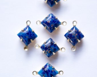 Lapis Blue Square Glass Stones in 2 Loop Brass Setting 8mm squ002C2