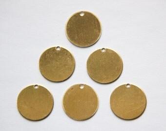 1 Hole Raw Brass Flat Circle Charms Drops (8) mtl202F