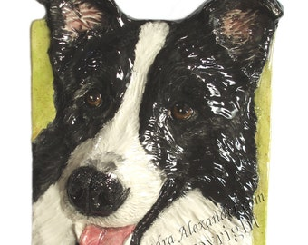 Border Collie CERAMIC Portrait Sculpture 3D Dog Art Tile Plaque FUNCTIONAL ART by Sondra Alexander Semi-Custom Made to Order