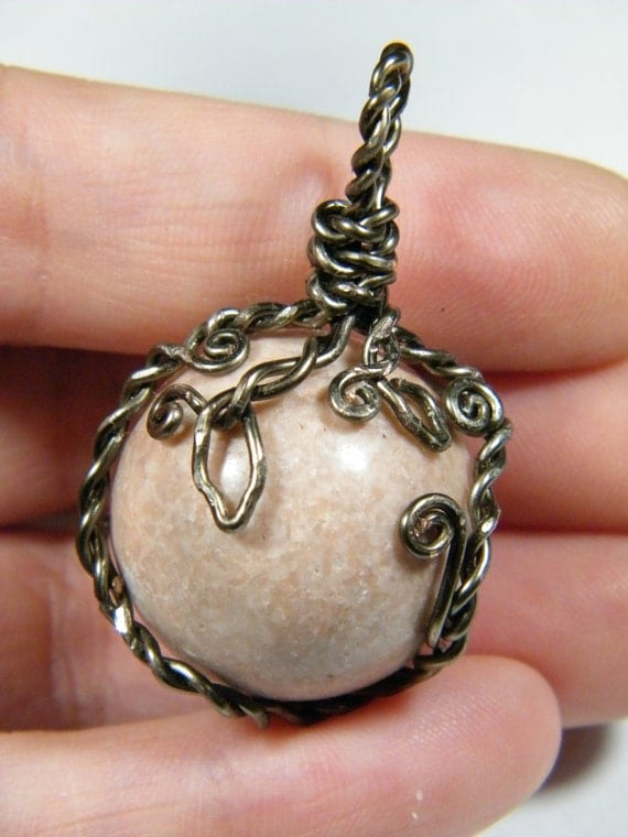 Wire wrapped natural pink marble sphere pendant for How to make marble jewelry
