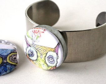 Owl Jewelry, Owl Bracelet, Metal Cuff Bracelet, Adjustable Recycled Metals, Magnetic, 3 in 1, Gift for Teen Girl, Fits All, Polarity, Corid
