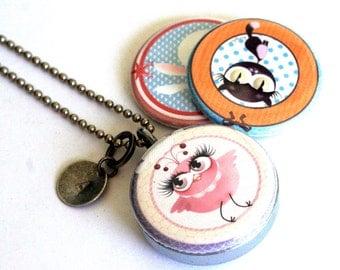 Bird Necklace, Bird Locket, Magnetic with 3 Interchangeable Lids, Stamped Custom Initial, Teen Girl Gift, Steel, Polarity, Kanzilue Art