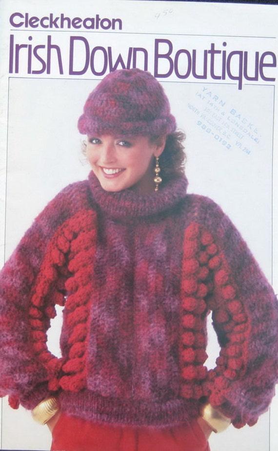 Cleckheaton Knitting Pattern Book Ladies Sweater Irish Down