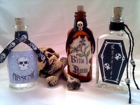 Arsenic Cyanide and Bella Donna potion poison spell witch bottles