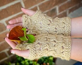 Tan Honeycomb Fingerless Gloves