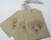 On Sale Peace on Earth Brown Set of 10 Christmas Tags Embellishment. Place Setting.  Goodie Bag Ties.