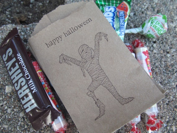 Mummy Halloween Goodie Bags Brown Kraft  Quantity 20 Halloween
