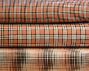 Homespun Fabric Fat Quarter Bundle Rose, Mocha And White Plaid Bundle Of 3