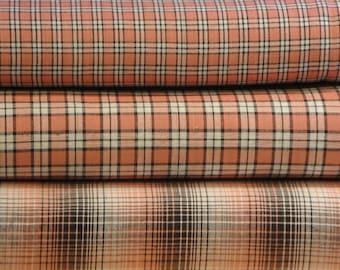 Homespun Fabric Fat Quarter Bundle Rose, Mocha And White Plaid Bundle Of 3