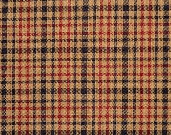 Homespun Material | Plaid Material | Quilt Material | Black, Wine And Natural | 1 Yard