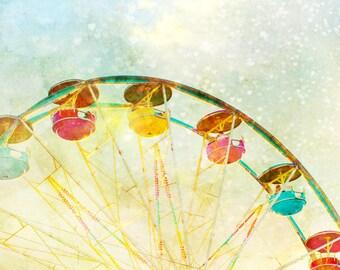 Nursery art, baby boy, hearts, carnival theme, ferris wheel, little boys room, circus art, infant, wall art, pastel colors
