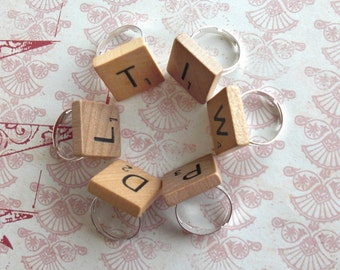 Scrabble Tile Ring .. Choose any letter .. new or vintage tiles .. game piece adjustable band .. Nostalgic Birthday Bash .. Corporate Party