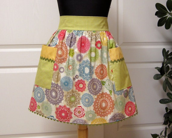 Modern Chic Half Apron, Retro Mustard Rust Blue - Flair for Cooking Womens Cute Aprons
