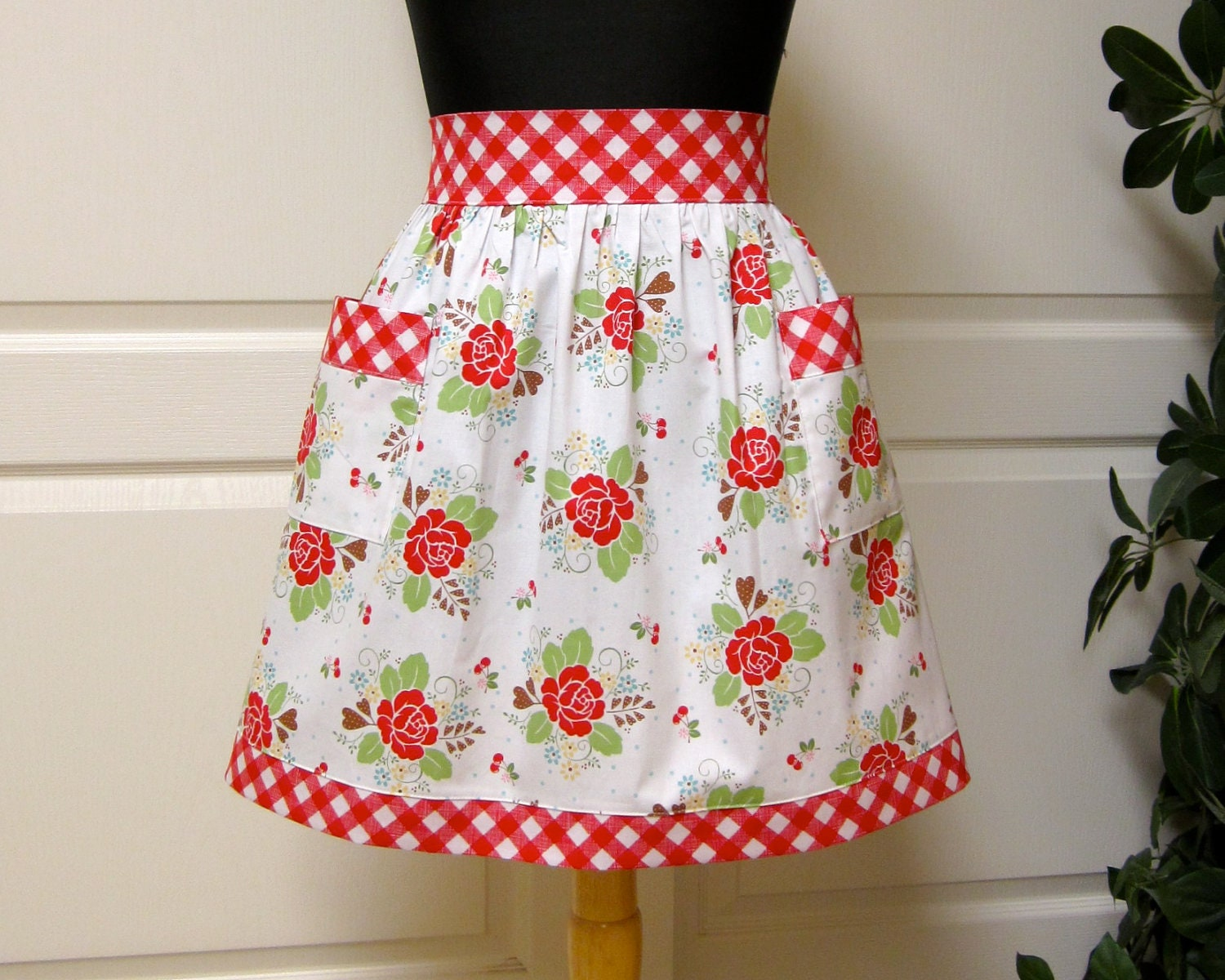 Retro Red Flowers Vintage Half Apron Flair for Cooking Cute