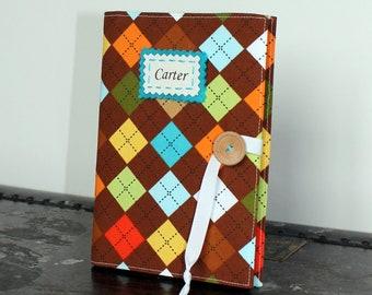preppy argyle your choice of personalization photo album brag book baby book