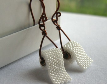 Toilet Paper earrings, triangle dangles on brown wire, hook earrings, allow 2 weeks before shipping
