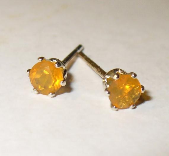 Fire Opal Stud Earrings -  Genuine Natural Gemstones in Solid Sterling Silver
