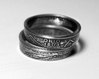 Handcrafted Ring made from a US Quarter - Ohio - Pick your size