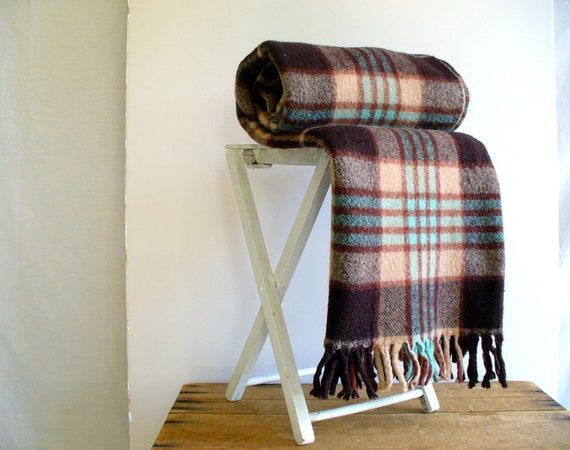 RESERVED FOR SARA Vintage Wool Plaid Blanket Stadium Throw / Horner