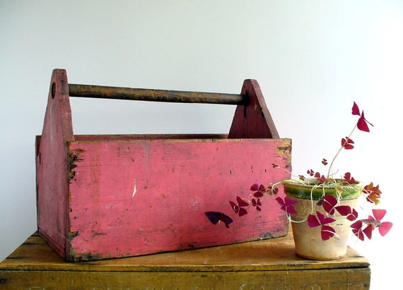 Vintage Wood Tool Box Caddy  / Industrial Home Storage