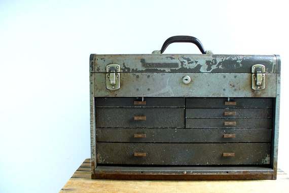 Vintage Machinist Tool Chest Box / Men Industrial Home Organization / Kennedy Kits 520
