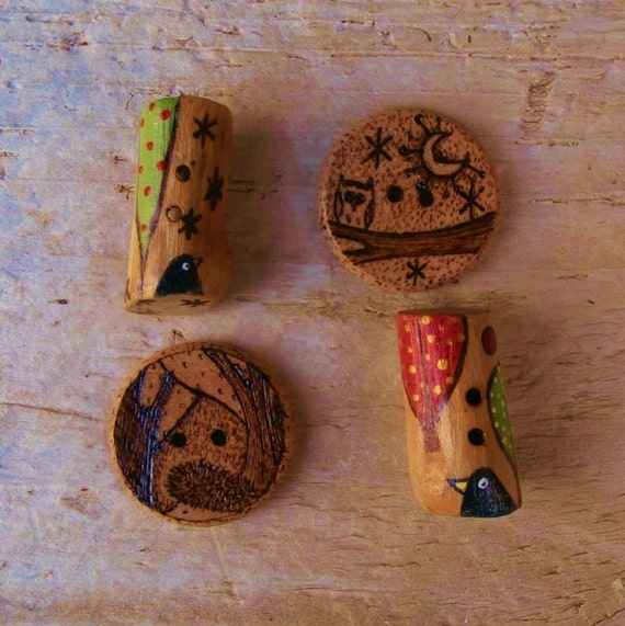 4 Nature Themed Sewing Buttons - Wood - Bird, Owl, Hedgehog,Tree - Toggle, Round -  International Shipping