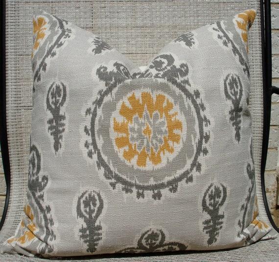 "18"" x 18""  Grey, cream and mustard yellow, ikat print pillow cover"