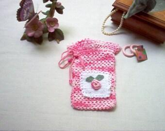 Pink Rosebud Gift Bag Sachet Crochet Lace Thread Art New Handmade