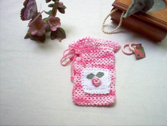 Crochet Sachet Bags : Pink Rosebud Gift Bag Sachet Crochet Lace Thread by crochetbymsa