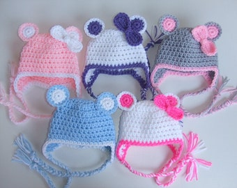 Crochet Childrens Earflap Hat, You select Size and Color