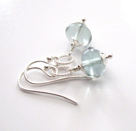 Blue Fluorite Earrings, Sterling Silver, Soft Teal Gemstone