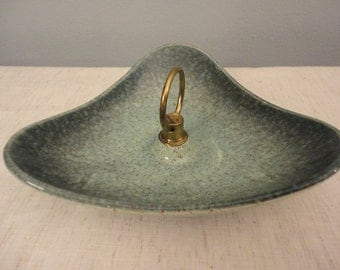 Vintage 1960's Pottery Serving Dish with Handle - Aqua Blue