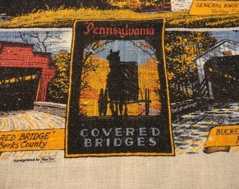 Vintage Linen Towel Souvenir Featuring Pennsylvania Covered Bridges